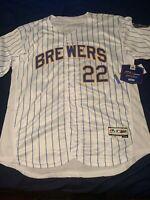 Christian Yelich Milwaukee Brewers Flex Base Jersey Mens M-2XL White