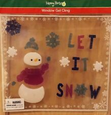 """Merry Bright """"Let it Snow"""" Snowman Christmas Themed Window Gel Cling Art"""