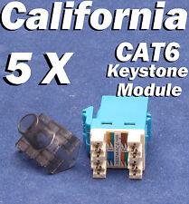 5 Pcs LOT Keystone 8P8C CAT6 RJ45 Network 110 Style Socket Punch Down Jack Blue