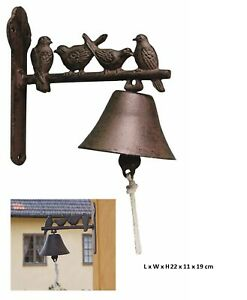 Metal Bird Doorbell Outdoor Bell Ornament Vintage Sculpture Iron Wall Home Decor