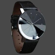 n* Men Luxury Stainless Steel Quartz Sport Leather Band Dial Wrist Watch Black