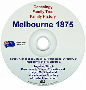Family History Genealogy Sands Directory Names Suburbs Streets Melbourne 1875 CD