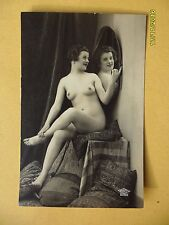 Original French 1910's-1930's RPPC Nude Risque Postcard Lady Looks In Mirror #26