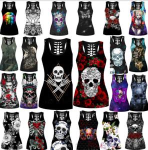 Women Gothic Shirt Skull Print Vest Sleeveless Tank Top Ladies Blouse T-Shirt