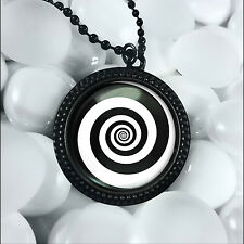 """Twilight Zone Swirling Hypnotic Vortex Spiral Glass Pendant Necklace 24"""" Chain"""