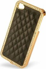Luxury Golden Diamond Hard Case Leather Cover for Apple iPhone 4