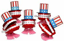 """2"""" Uncle Sam Chattering Teeth Wind Up Toys - 5 pc American Usa Flag Novelty Gags"""