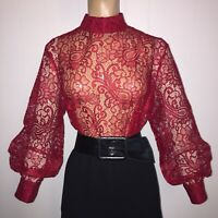 """2X SHEER Red SATIN Lace HIGH NECK BLOUSE 51"""" Bust 3-BUTTON CUFFS Vintage Insp"""