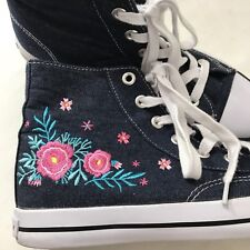 025acecf3a2e AIRWALK Women Blue Denim Pink Flower High Top Fashion Skate Shoe Sneakers 10