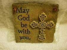 New listing Russ Berrie May God Be With You Stone Hanging Wall Plaque with Cross Decoration