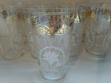 Federal Glass 10 oz Tumbler White Flower with Gold Floral band 1 ct Vintage