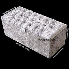 Top Quality ,Ottoman Storage Box &Seating in Silver  Crushed Velvet