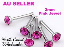 1X 3mm Pink Crystal Rhinestone 316 Stainless Steel Nose Stud Ring