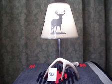 WHITETAIL DEER-ELK ANTLER/SHED LAMP/LIGHT WITH TAN DEER SILHOUETTE SHADE #88