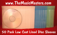 NEW 50 Pack Lined CD, DVD, Blu-Ray Disc Protective Storage Case Sleeves Holders
