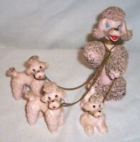 "Large 5 1/2 "" TALL Pink Spaghetti Poodle 4 FIGURE FAMILY and Chained Pups"