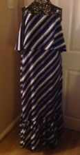 BNWT M&S Size 14 Ladies Navy Striped Fully Lined Frill Strap Dress £39.50