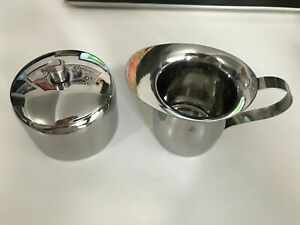 Stainless Steel Small Sugar Bowl and Creamer Set, Silver