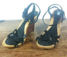 PLAYBOY BOUTIQUE BLACK SUEDE LEATHER WOODEN WEDGE SANDALS SIZE 7 BRAND NEW