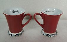"Kahlua Coffee Mugs Pair Lot of 2 ""Conmemorativo"" Red Festive Beverage Mugs"