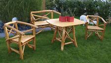 Ensemble salon de jardin table fauteuil banquette bois chêne clair MERVEILLE