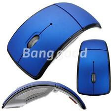Blue Foldable Folding Arc Wireless Optical Mouse+USB 2.4G Snap-in Receiver Gift
