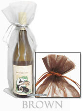 """10 Wine Bottle Organza Bags, 6.5 x15 Inches, 6 1/2 """" x 15"""" - Sheer, CHOOSE Color"""