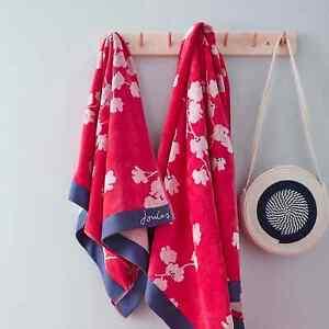 Joules Penzance Floral 100% Cotton Red Bath Sheet Towel
