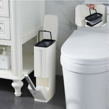 3L Slim Bathroom Trash Can Waste Basket Garbage Bin W/ Toilet Brush Cleaning