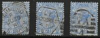 SG157. 2&1/2d.Blue Plates 21-23. Fine Used with Good Colours. Cat.£112. Ref:0352