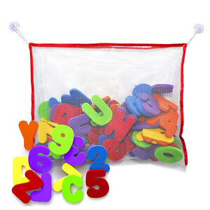bath toy foam letters and numbers with toy storage net organizer kids baby gift