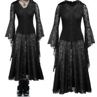 Cosplay Women Black Lace Gothic Long Sleeve Vintage Steampunk Hooded Dress