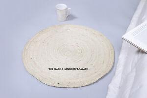 Zone Tapis Tressé Design Jute 60cm Rond Porte Tapis pour Séjour Indien Tapis