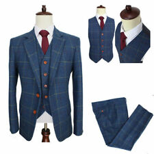 Wool Blend Blue Ckeck Tweed MenVintage Wedding Suit Groom Blazers Retro Tailor