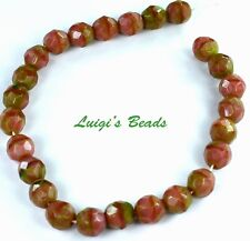 25 Pink Coral/Olivine Czech Firepolish Faceted Round Glass Beads 8mm