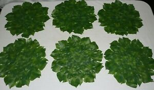 """NEW TROPICAL IVY GRAPE LEAVES  PLACEMATS 15"""" ROUND GREEN LEAF SET OF 6"""