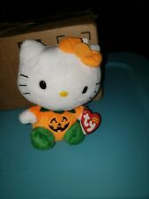 Ty Beanie Babies Hello Kitty Pumpkin costume Halloween with tags plush CUTE!