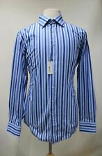 """THOMAS PINK Men's Blue Cotton Striped Slim Fit Collared Shirt 17"""" Neck NEW"""
