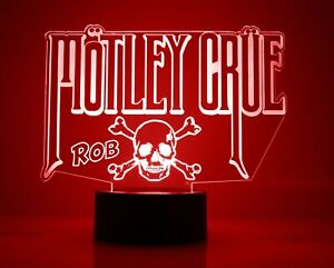Motley Crue Band Logo LED Night Light, with Remote Control, Engraved Light Up