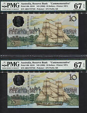 TT PK 49b 1988 AUSTRALIA 10 DOLLARS PMG 67 EPQ SUPERB SET OF 2 SEQUENTIAL NOTES!