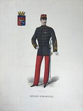 Gravure Couleur Officier d'Infanterie A.Lemercier Signé A.H XIXe