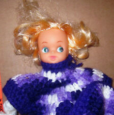 1980s HOMEMADE purple doily Crochet Doll strange knit pattern creepy