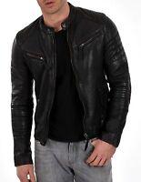 jacket leather motorcycle new mens slim biker coat genuine black fit lambskin M3