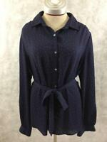 Lands End womens top Size 16 blue polka dots button down long sleeve scarf