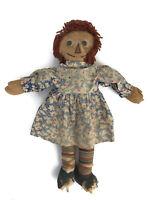 Vintage 1930s Raggedy Ann Molly'es Cloth Rag Dolls Striped Legs Signed As Is