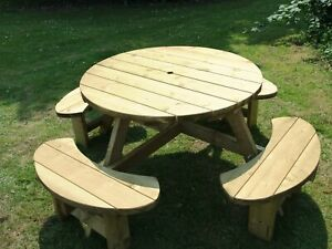 Round picnic bench table Winchester WRB38G 1140mm table top, 38mm treated timber
