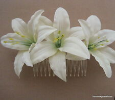 "Triple 3 1/2"" Cream Lily Silk Flowers Hair Comb, Bridal,Luau,Dance,Wedding,Prom"
