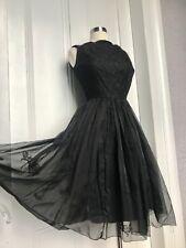 50's Vintage Black Lace Chiffon Cocktail Party Dress XS