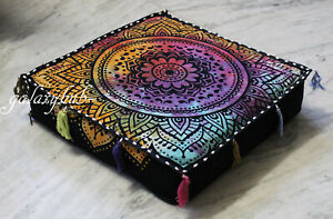 18X18 Inch Square Multi Floral Mandala Box Cushion Cover Decorative Pillow Cover