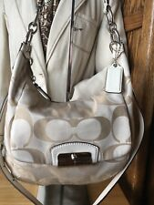 Coach Tan Signature C Jacquard & Lthr Convertible Bag W/ Silver Tone Hrdwr